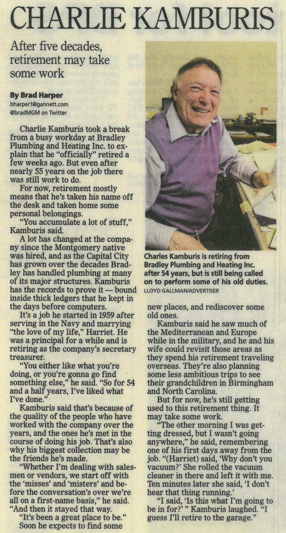 Charlie Kamburis retirement article